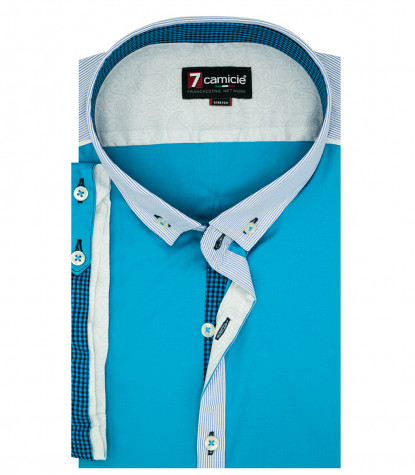 Camicia Uomo 1 Bottone Button-down a Manica Corta POPELINE STRETCH UNITO Turchese
