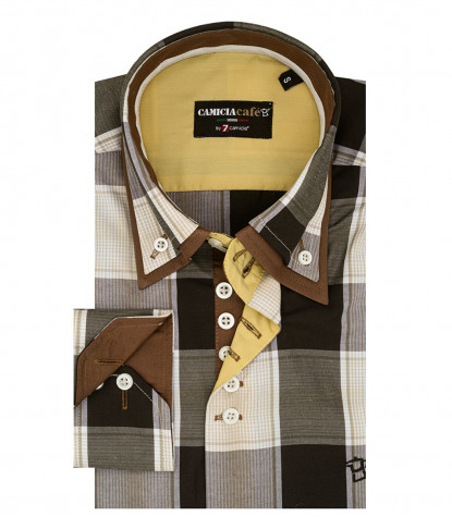 Camicia Uomo 2 Bottoni Button-down Doppio Collo Slim Cotone Poliestere Quadro Grande Beige e Marrone