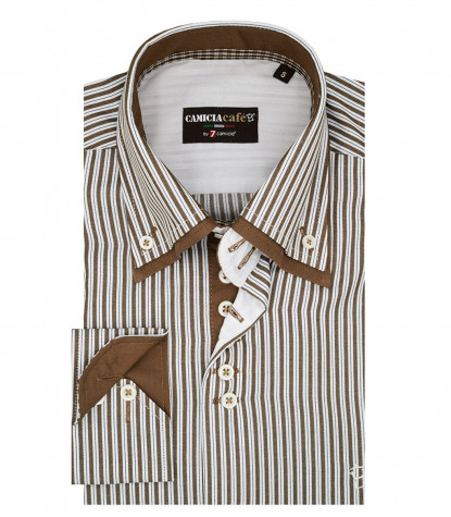 2 Buttons Button-down Double Collar Slim Man Shirt Cotton / Polyester Medium Line Mud and White