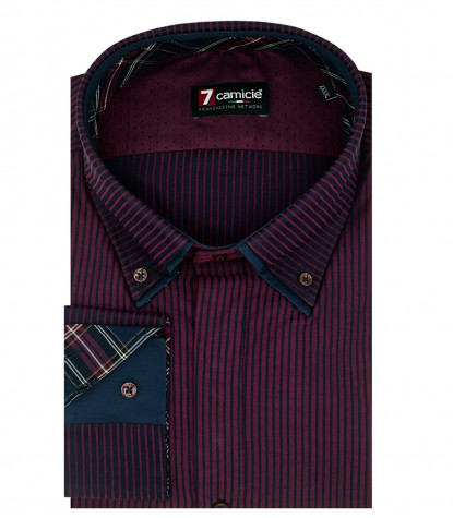 Camicia Uomo 2 Button Down 7Bottoni Satin Riga Stretta Bordeaux/Blu