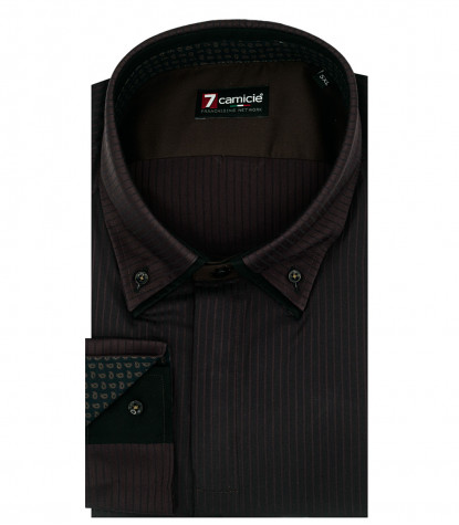 Camicia Uomo 2 Bottoni Button Down 7Bottoni Satin Riga Media Nero/Marrone