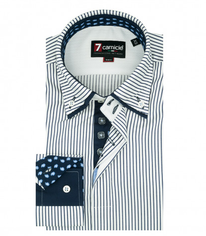 2-button button-down man shirt with double collar in White and Blue Narrow Line Satin