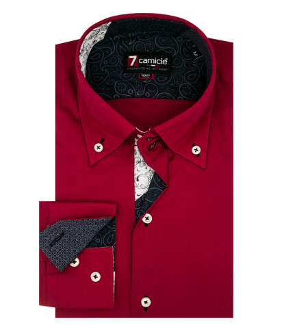 Chemise homme 2 boutons button-down slim Popeline Stretch Plaine Rouge