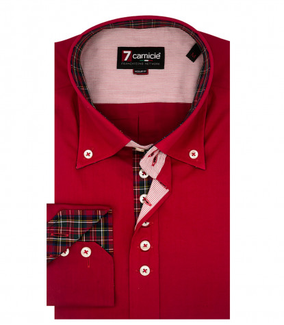Camicia Uomo 2 Bottoni Button Down 7 bottoni Popeline Unito Rosso
