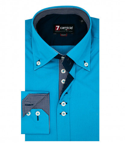 Chemise homme 2 boutons boutonnée 7 boutons Popeline Uni Turquoise