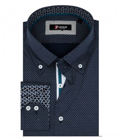 Camicia Uomo 2 Bottoni Button Down Armaturato Fantasia Celeste