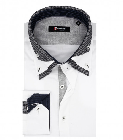2 Buttons Button Down Triple Collar Man Shirt White Satin