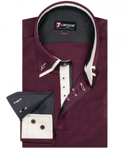Camicia Marco Polo Satin Bordeaux