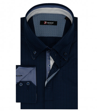 Camicia Uomo 2 Bottoni Button Down Jacquard Fantasia Blu