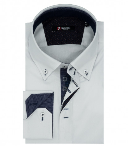 2 Buttons Button Down Jacquard White Man Shirt