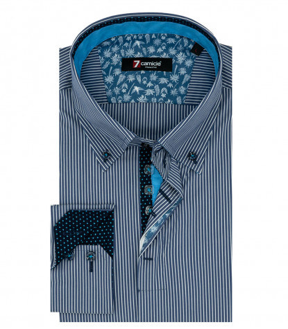Chemise Homme 2 Boutons Boutonnée Popeline Rayures Moyennes Bleu