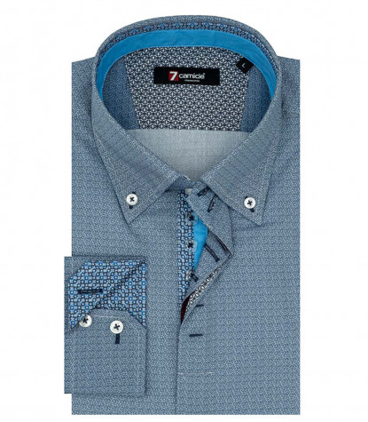 Camicia Uomo 2 Bottoni Button Down Popeline Fantasia Blu