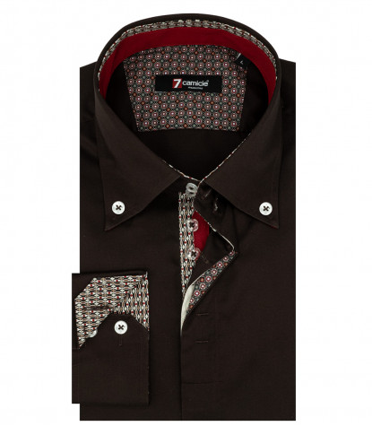 Camicia Uomo 2 Bottoni Button Down Satin Marrone
