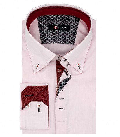 Camicia Uomo 2 Bottoni Button Down Satin Rosa