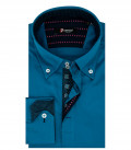 Camicia Uomo 2 Bottoni Button Down Satin Blu