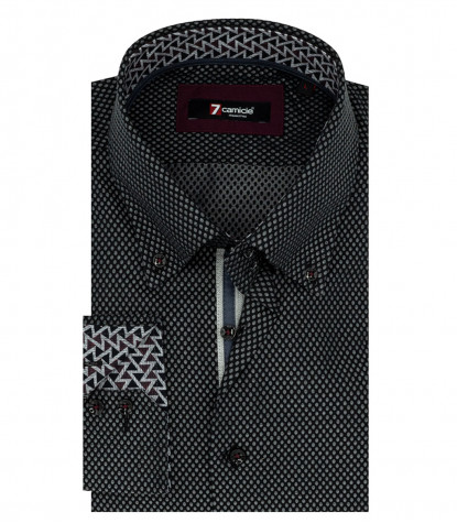 2 Knöpfe Button Down Jacquard Man Shirt Schwarz Fantasie