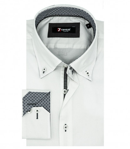 2 Knöpfe Bdwn Stretch Popeline White Man Shirt