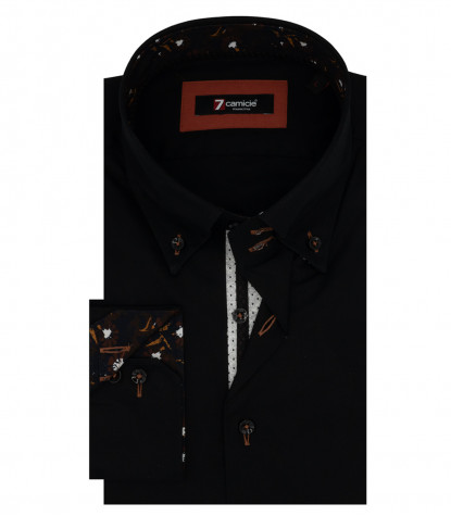 2 Buttons Button Down Stretch Popeline Man Shirt Black