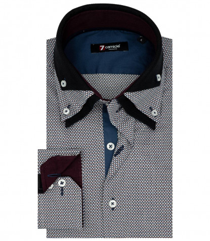 Camicia Uomo 2 Bottoni Button Down Triplo Collo Jacquard Fantasia Bianco Blu