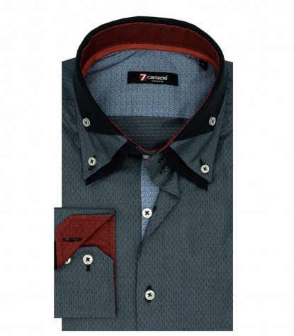2 Buttons Bdwn Triple Collar Man Shirt Jacquard Gray Fantasy
