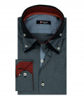 Camicia Uomo 2 Bottoni Button Down Triplo Collo Jacquard Fantasia Grigio