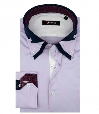 Camicia Uomo 2 Bottoni Button Down Triplo Collo Satin Lilla