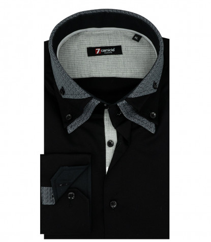 2 Buttons Bdwn Triple Collar Man Shirt Black Satin