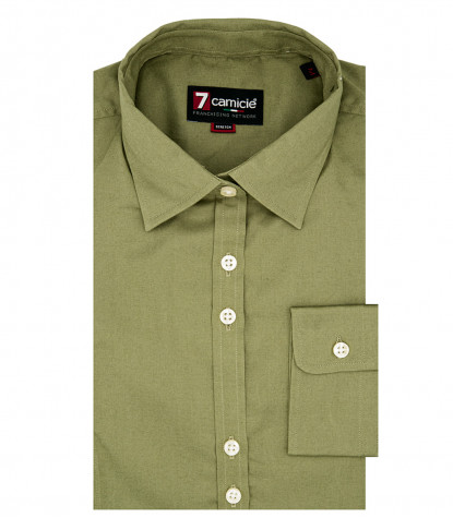 1 button small neck woman shirt Popeline Stretch Plain Military Green