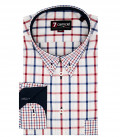 1 Button Button Down Slim Man Shirt Large Square Oxford Red / Blue