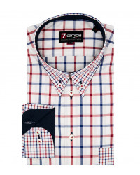 Camicia Uomo 1 Bottone Button Down Slim Oxford Quadro grande Rosso/Blu
