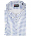 1 Button Button Down Short Sleeve Slim Man Shirt Printed Cotton White and Blue