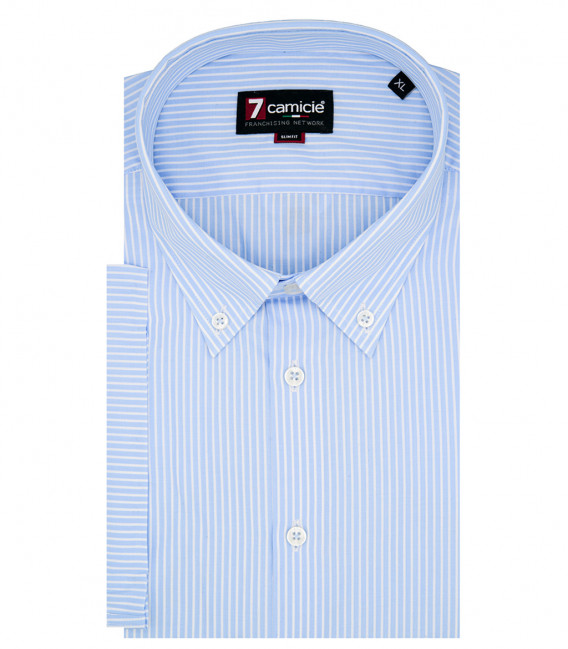 chemise homme 1 bouton button-down manches courtes Popeline Narrow rayé