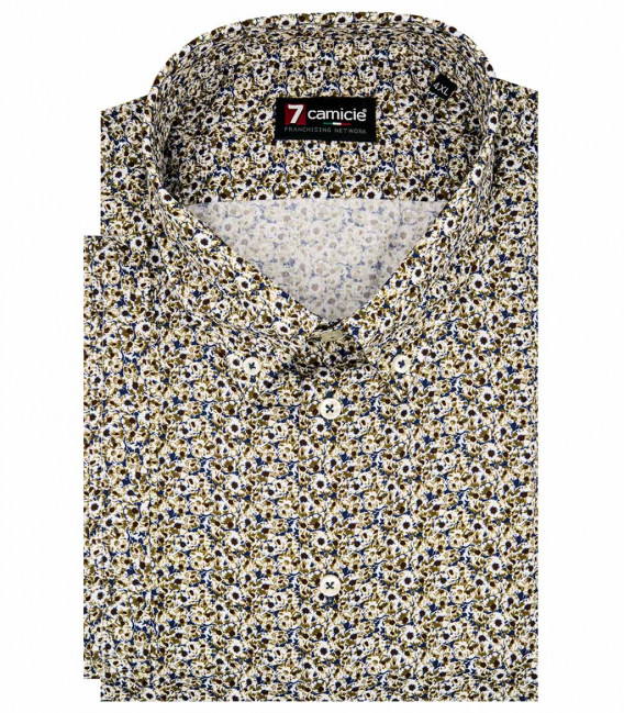 1 button button-down short sleeve man shirt slim fit Small squares twill