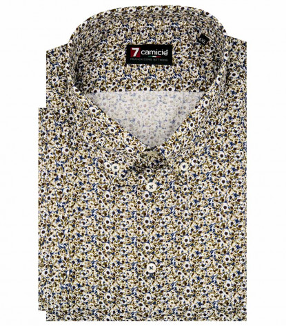 Camicia Uomo 1 Bottone Button Down Manica Corta Slim twill fantasia Blu/Marrone