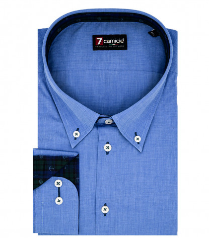 Camicia Uomo 1 bottone button down slim Fil a Fil unito Blu Inchiostro
