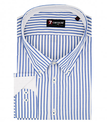 Camisa hombre 1 botón button down slim Popeline Wide Stripe Blanco / Bluette
