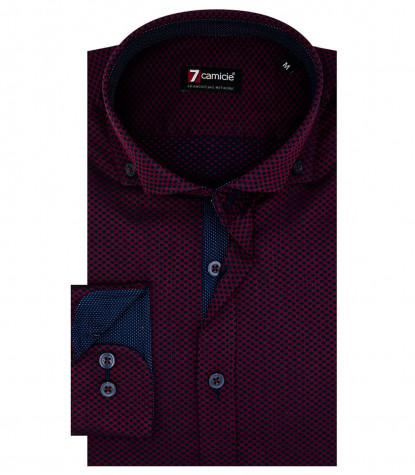 1 Button Button Down Slim Man Shirt Jacquard Burgundy / Blue Fantasy