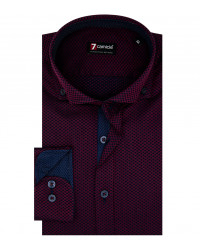 Camicia Uomo 1 Bottone Button Down Francese Slim Jacquard Fantasia Bordeaux/Blu