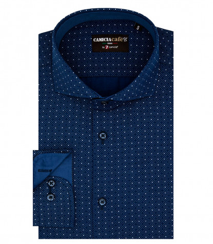 1 Button French Collar Slim Man Shirt Printed Polyester Cotton Blue / Brown