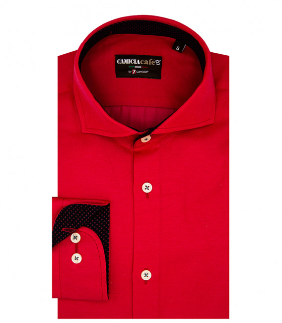 1 Button French Collar Slim Man Shirt Cotton/Polyester Rosso
