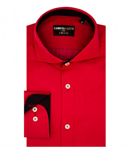 1 Button French Collar Slim Man Shirt Cotton Polyester Red
