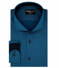 1 Button French Collar Slim Man Shirt Printed Cotton Polyester Petrol and Gray