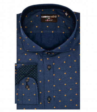 1 Button French Collar Slim Man Shirt Printed Polyester Cotton Blue and Ocher