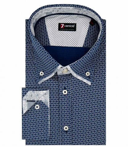 Camicia Uomo 2Bottoni Button Down Doppio Collo Slim Cotone Stampato Bluianco
