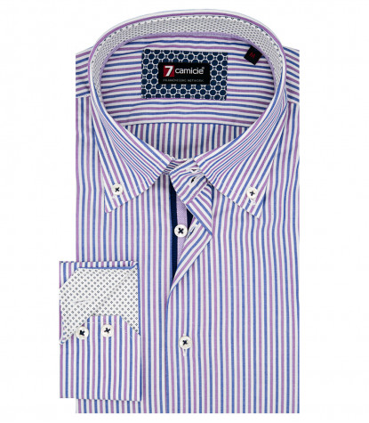 Camicia Uomo 2 Bottoni Button Down Slim Popeline Riga Media Bianco e Viola
