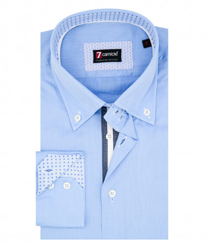Camicia Uomo 2 Bottoni Button Down Slim Twill Unito Celeste Medio