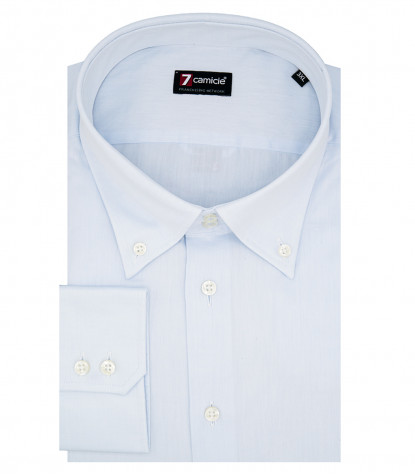 Camicia Uomo 2 Bottoni Button Down Slim Twill Unito Celeste