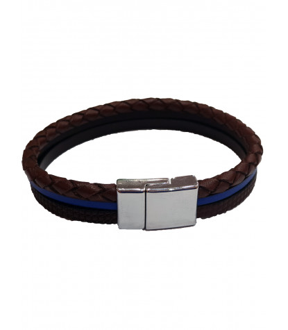 Bracelet Triple Fantaisie Marron Bleu