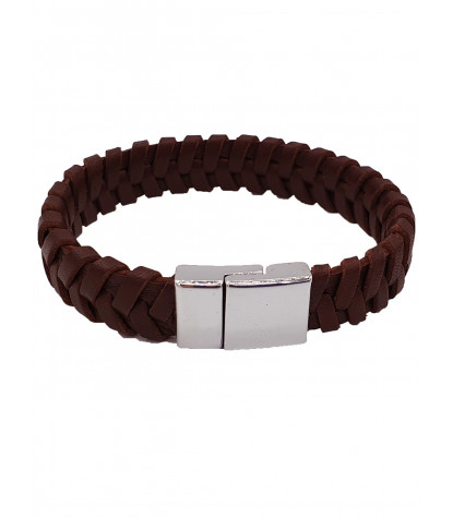 Clips Braided Bracelet Plain Brown