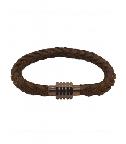 Clips Braided Bracelet Plain Light Brown